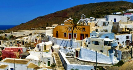 Finikia village in Santorini, a delightful whitewashed contrast to the volcanic scenery