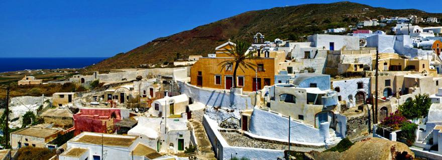 Finikia village in Santorini, a delightful whitewashed contrast to the volcanic scenery